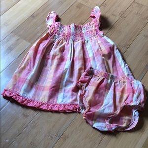 Youngland plaid smocked dress w/bloomers
